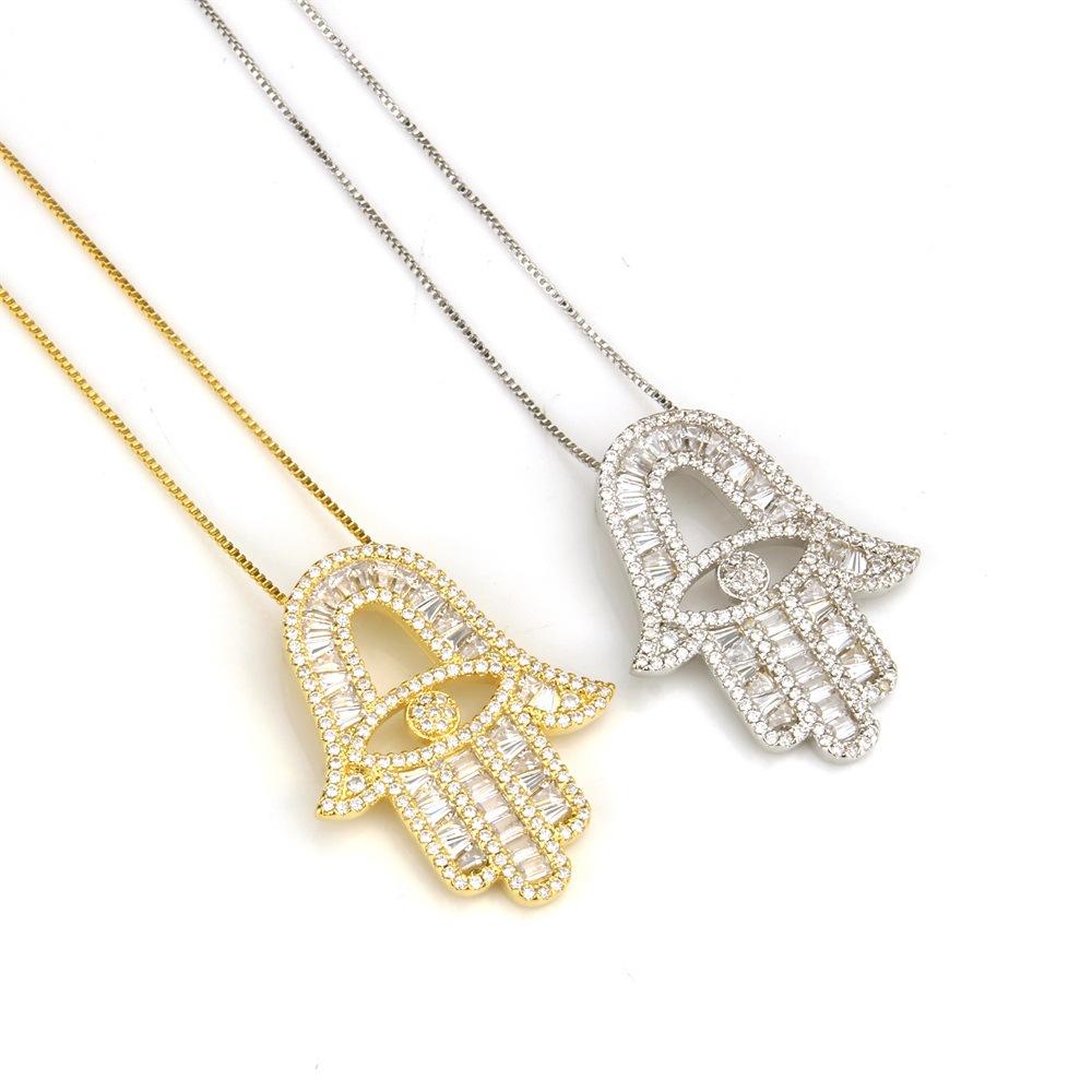 Fatima 5 Mano de Hamsa dorada Miriam Encanto Colgante fabricación de joyas AG 49