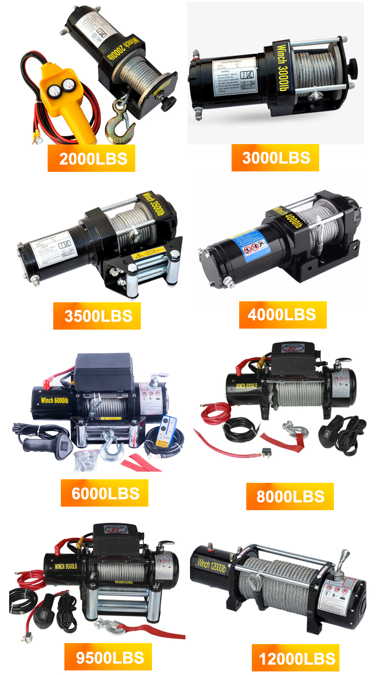 Mini DC 12V/24V 2000lbs Electric Car Winch