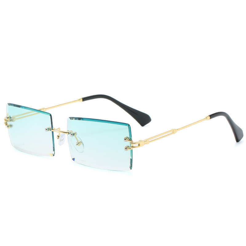 THREE HIPPOS Ocean slice sunglasses metal Small Square frames Rimless Shades 2020 New Arrivals small Rectangular sun glasses