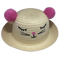 Fashion Beach Embroidered Pompom Children Straw Hat Lovely Baby Girl Summer Hat