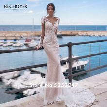 Свадебное платье с длинным рукавом, кружевной аппликацией русалки, бисером и открытой спиной, Vestido de Noiva 2020, легкое платье принцессы, behoyer N162(Китай)