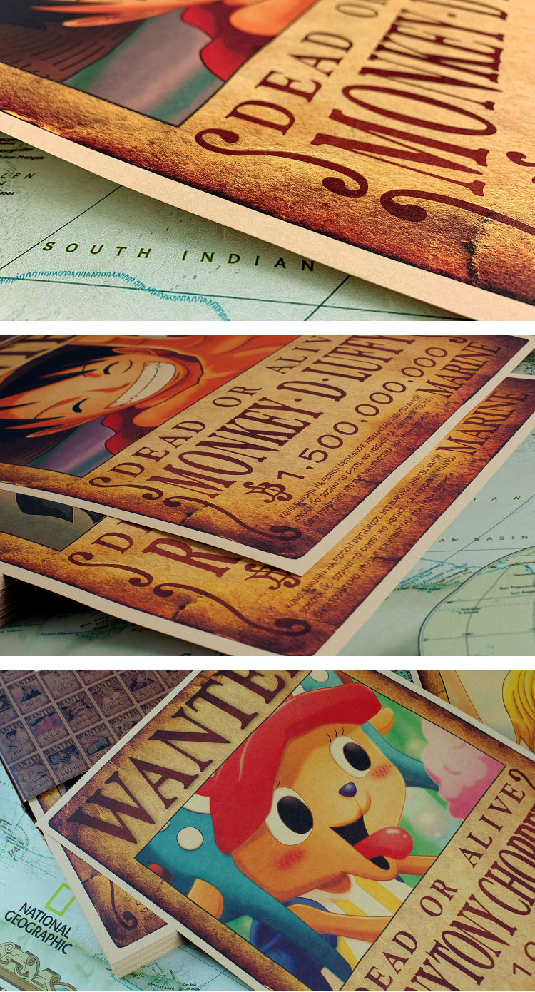 promotion big size decoration vintage art custom designs retro kraft paper printing service one piece anime wall poster