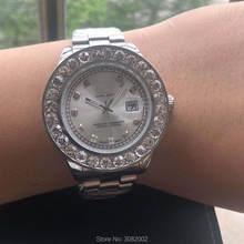 2020 дата-просто мужские часы Лидирующий бренд серебро-золото большие бриллианты часы Роскошные Кварцевые часы Ролекс Стальные наручные час...(Китай)