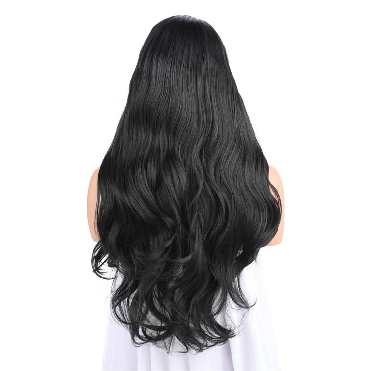 En gros Pas Cher 22 Pouces Noir Dentelle Avant Long Ondulé Bouclés Cheveux Synthétiques Perruque