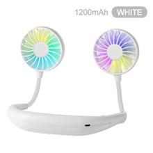 1200 2000 Мини Портативный беспроводной шейный ремешок USB Перезаряжаемый двойной вентилятор Регулируемый цветной светильник ручной кондицион...(Китай)