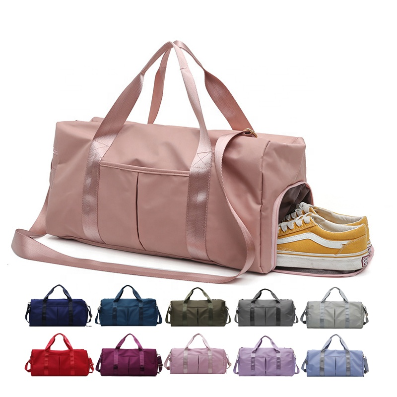 Dry Wet Separated Sport Gym Duffle Holdall Training Yoga Travel Overnight Weekend Shoulder Tote Bag with Shoes Compartment