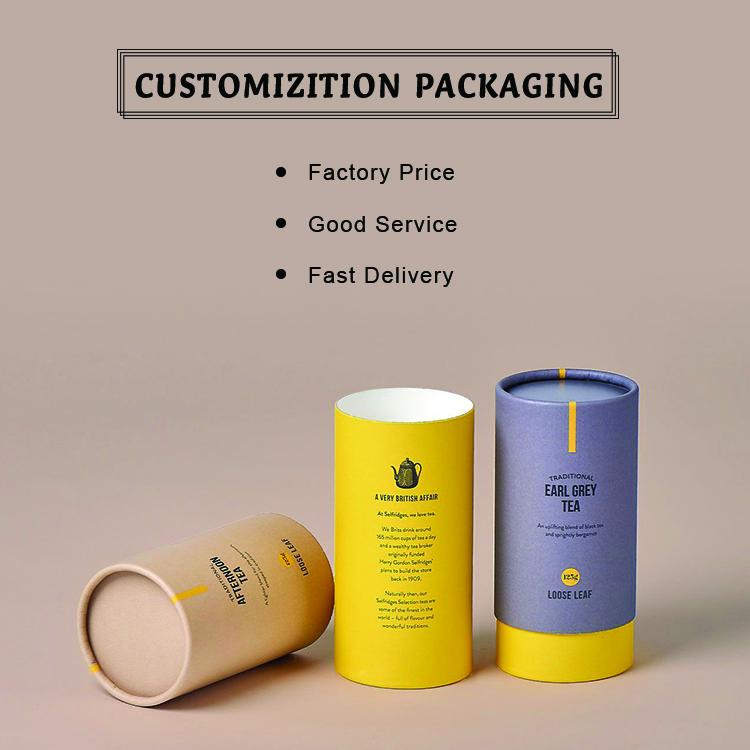 कस्टम मुद्रित रचनात्मक दौर खाद्य पैकेजिंग के लिए क्राफ्ट पेपर ट्यूब पैकेजिंग