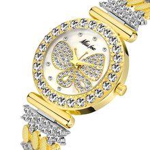 MISSFOX Бабочка часы Женские люксовый бренд большой алмаз 18 К золотые часы водонепроницаемый специальный браслет дорогие женские наручные час...(China)