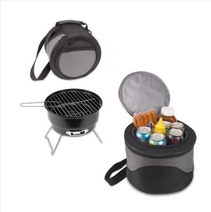 Barbacoa portátil plegable mesa de parrilla de carbón con enfriador bolsa como visto en la tv