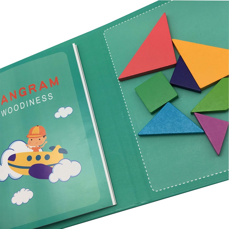 wooden tangram magnetic puzzle game