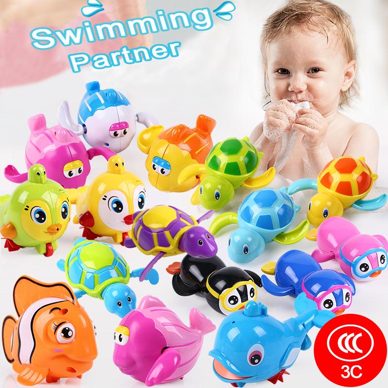 Baby Bathroom Tortoise Clockwork Toys Cartoon Animal Turtles Mini Mermaid Wind Up Toy Educational Kids Classic Toy Random Color