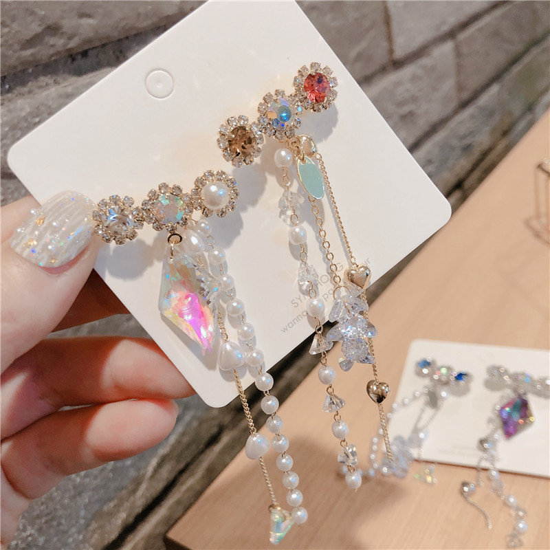 ZJQ0030 Trade assurance crystal color diamond tassel female earring silver needle Irregular long banquet earring fashion jewelry