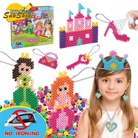 Kids DIY Water Fuse Non Iron Super Beads Girls Arts and Crafts Toy Set. Girls Indoor Activity Fun Project Little Princess Crafts