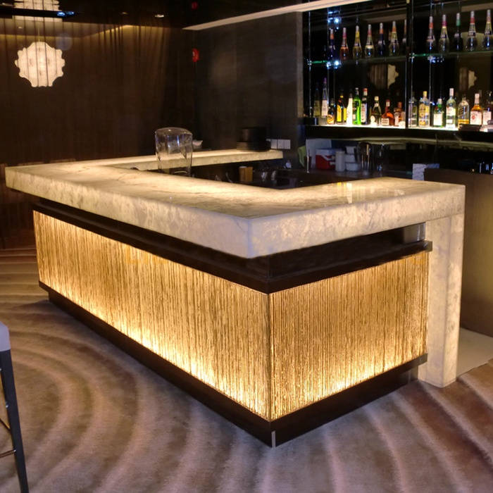 Customized Size Acrylic Solid Surface Restaurant Nightclub Wine <strong>Bar</strong> Illuminated Led <strong>Bar</strong> Counter Design