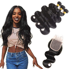 Natural Human Hair Weave Bundles Original Brazilian Human Hair Extension Wholesale Virgin Human Hair with closure