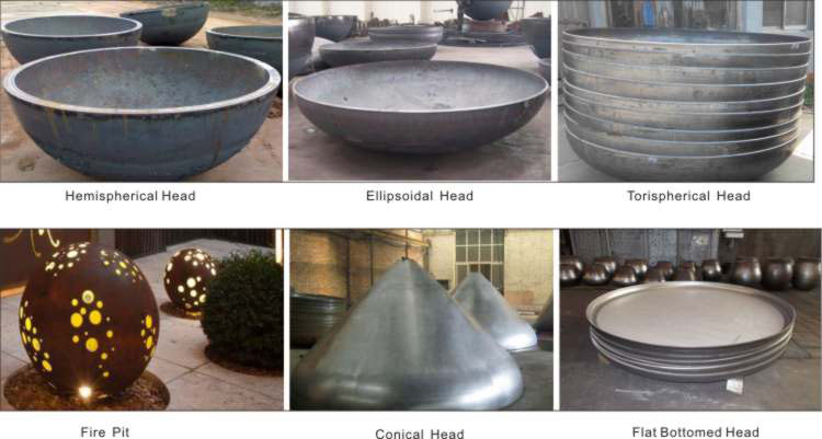 Acero al carbono tapa torisférico cabezas tapas del tanque plato extremos presión cabezas
