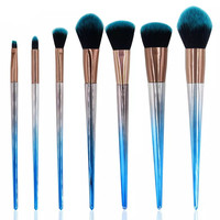 Best Selling 7pcs Natural Handle Makeup Brush Synthetic Hair Makeup Brushes Set With OPP Bag
