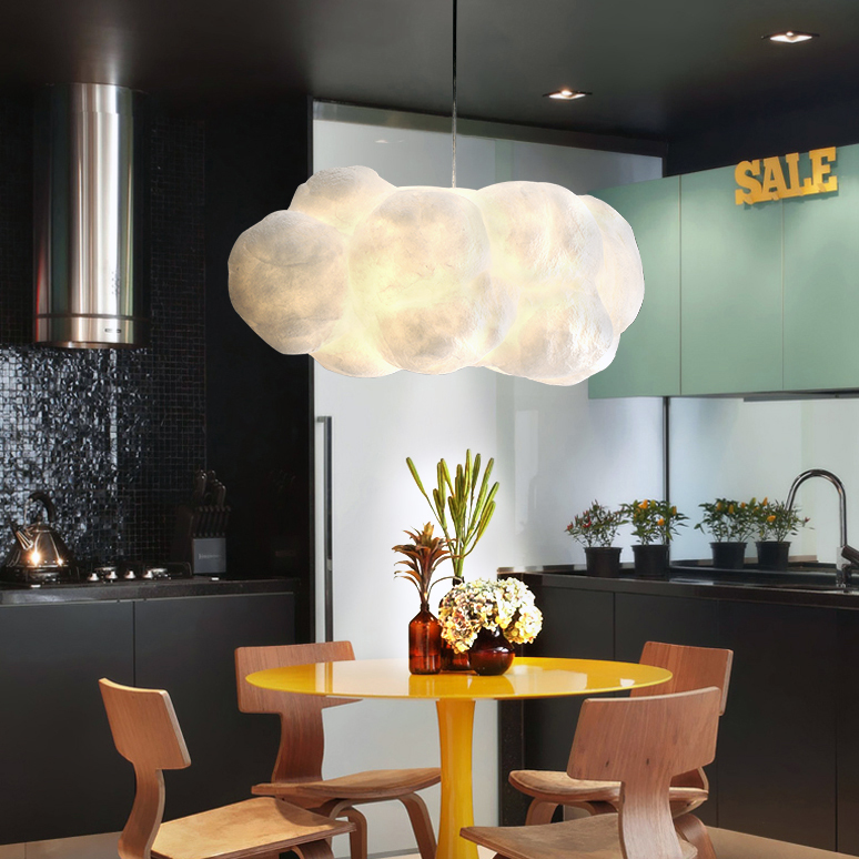 Nordic creative Polymer material LED E27 bulb modern white cloud chandelier