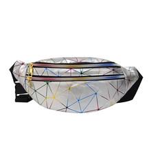 Модная Лазерная поясная сумка, Геометрическая Водонепроницаемая мужская женская сумка на молнии, нагрудная сумка через плечо, Повседневна...(Китай)