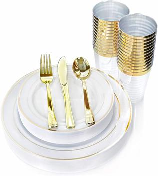 OEM DESIGN Elegant Gold Trim Plastic Disposable Plates Silverware