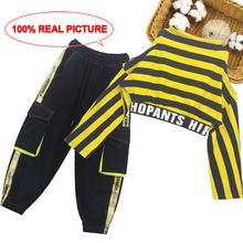 Детская одежда, футболка + штаны, одежда для девочек, одежда в полоску для девочек-подростков, Детский костюм в стиле пэчворк, 6, 8, 10, 12, 14(Китай)