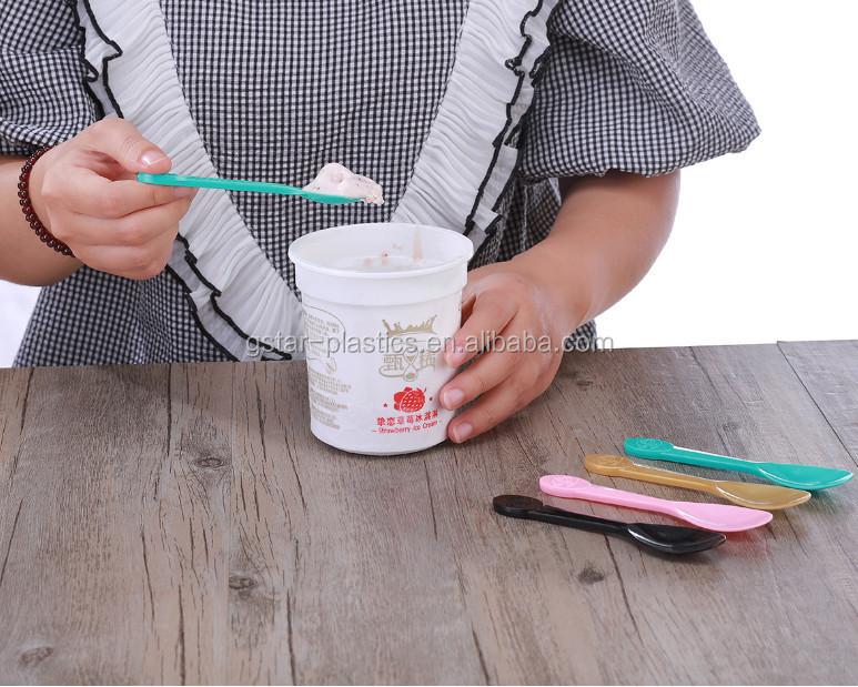 13cm Length Heavy Duty Plastic Ice Cream Spoon Scoop Disposable for Icecream Pudding Sundae Yogurt