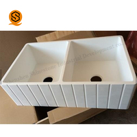 White kitchen sinks Custom Size Double Bowls Farmhouse Apron Kitchen Sink