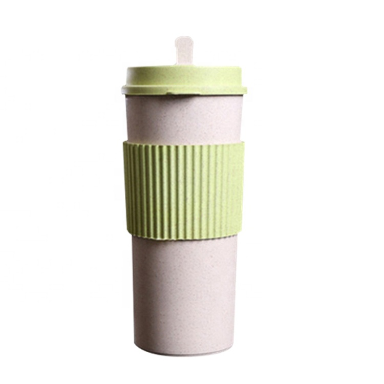 AFTCE079B Natural Bottles Wheat Straw Fiber Plastic Water Coffee Tea Cup Rice Husk Microwave Safe