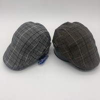 100% polyester cabbie flat top checked plaid ivy cap for gentlemen