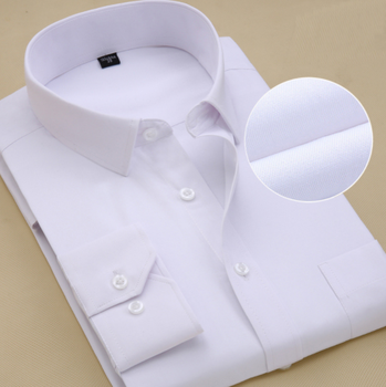 Pure Color Casual Business Slim Fit Long Sleeve Men's Tops White Shirt Men's Shirt
