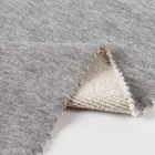 Soft grey heather 100% cotton french terry knit fabric in stock for hoodie sweater