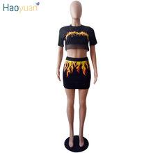 HAOYUAN Женский комплект 2 шт. с принтом огненного пламени, пикантный сетчатый укороченный топ, мини-юбка, клубный наряд, комплект из двух предме...(Китай)