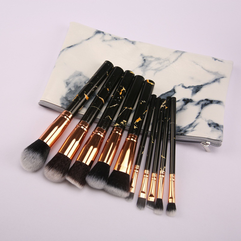 Fabriek aangepaste 10 marmer make-up kwasten 5 grote 5 kleine marmeren geklets makeup brush set professionele
