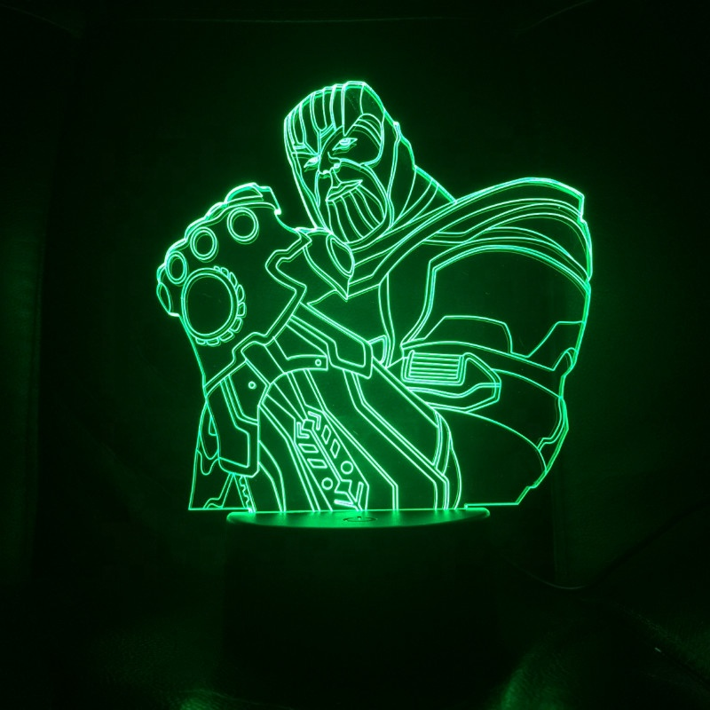 3D Kids Night Lamp Marvel The Avengers Superhero Captain America Hulk Black Panther Ironman Spider man LED Night Light for Child