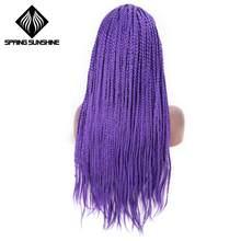 Весеннее солнце синтетические парики на кружеве темно-коричневый длинный ящик коса парик фиолетовый бесклеевой Плетеный для афро женщин п...(Китай)