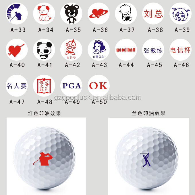 Custom logo design Colorful golf ball stamp with quickly self-drying ink