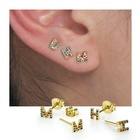 Silver Jewelry 925 Earrings 14K Gold Plated Dainty Jewelry Micro Pave CZ Tiny Initial Gold Stud Earrings For Women