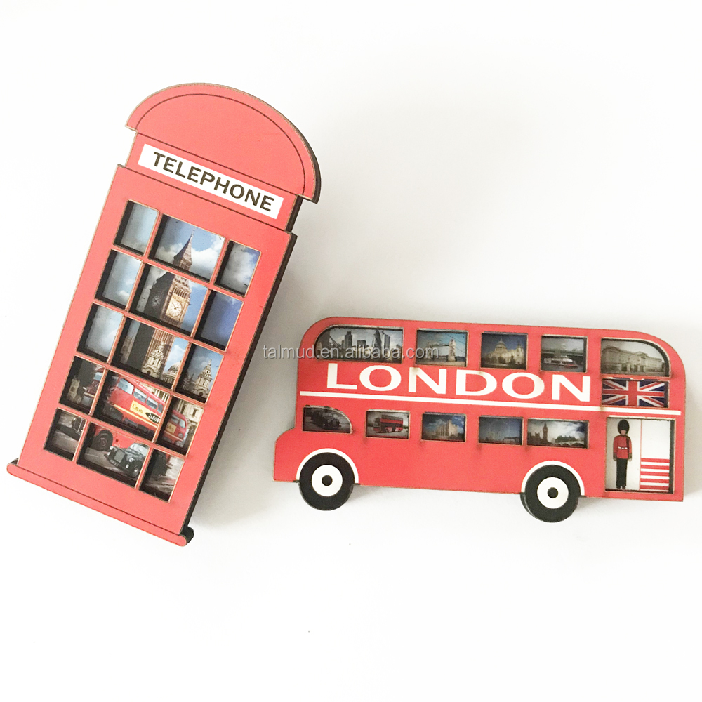 3D Design Refrigerator Fridge Magnets Double-layer MDF British England Culture Pattern Double-decker Bus Travel Souvenir UK