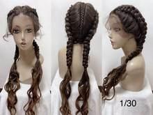 Длинные Синтетические парики для чернокожих женщин, полностью плетеные парики для чернокожих женщин, длина 28 дюймов(Китай)