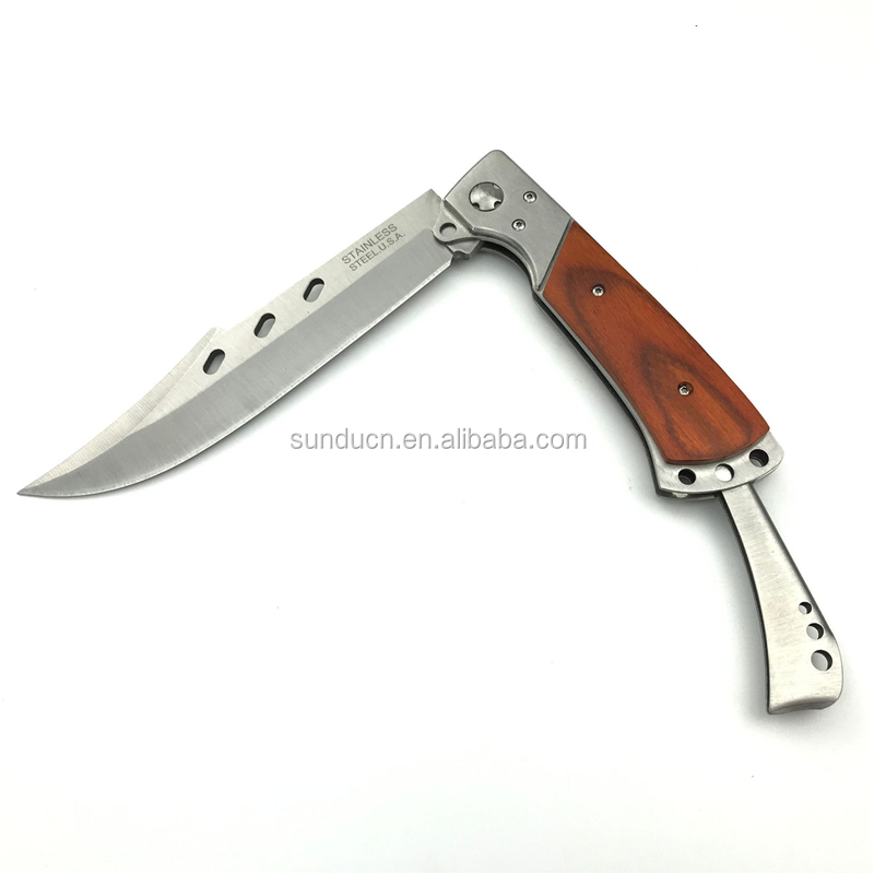 Outdoor Wooden Handle Big Hunting Tactical Folding Knife