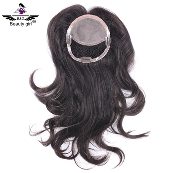 Wholesale mono base with fishnet hair pieces replacement virgin european human hair topper for women