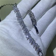 Браслет ручной работы для тенниса, серебряный браслет, AAAAA циркон, модные вечерние свадебные браслеты для женщин и мужчин, хип-хоп ювелирные ...(Китай)