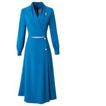Новинка весны 2020, женское Роскошное дизайнерское длинное вечернее платье с длинным рукавом, повседневное винтажное платье размера плюс, од...(Китай)