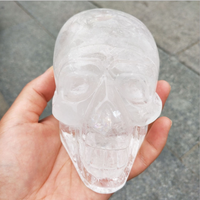 Beautiful Carving Crafts Natural Rock White Clear Quartz Hand Carved Crystal Skulls