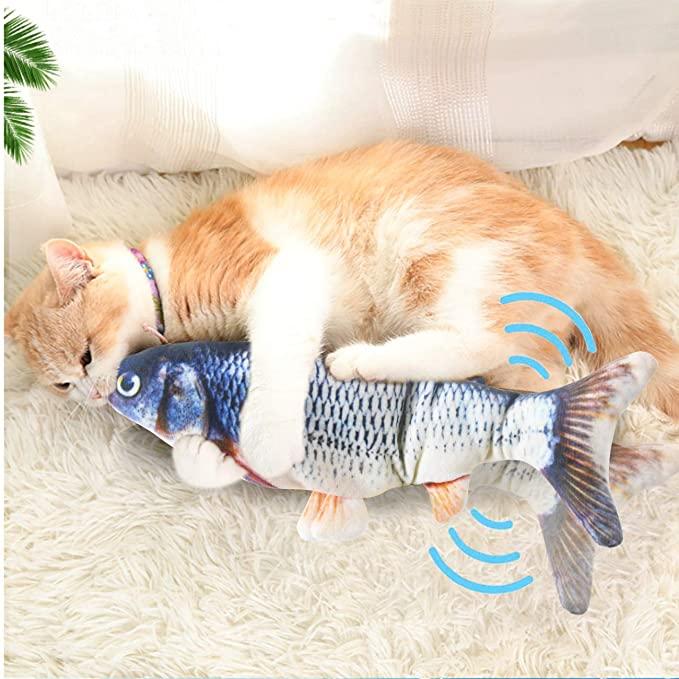 CAT Chew ของเล่นค่าเฉลี่ยปลา,จำลองที่สมจริงตุ๊กตาไฟฟ้าปลา,Wiggle Catnip ของเล่นสำหรับแมวออกกำลังกาย Kicker กัด
