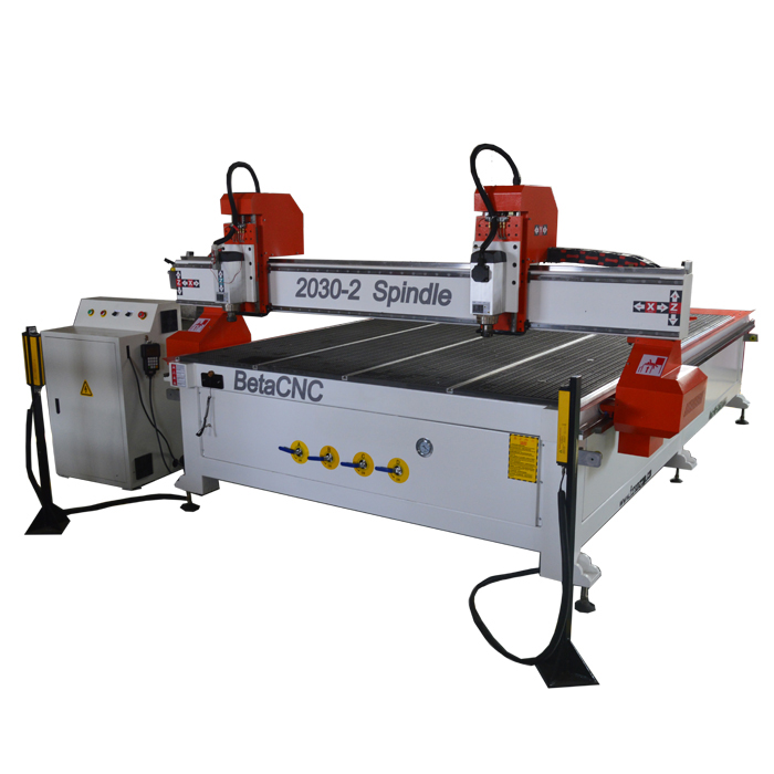 FORSUN 3kw spindle 2030 2 heads 3d woodworking cnc router machine for furniture and cabinet