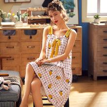 BZEL фрукты ночные халаты в клетку свободные мягкие пижамы сладкий сексуальный Ночная рубашка большого размера Удобная хлопковая Домашняя о...(Китай)