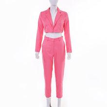Женский однотонный короткий Блейзер из двух предметов, элегантные куртки с длинными рукавами и отложным воротником и брюки-карандаш, облег...(Китай)