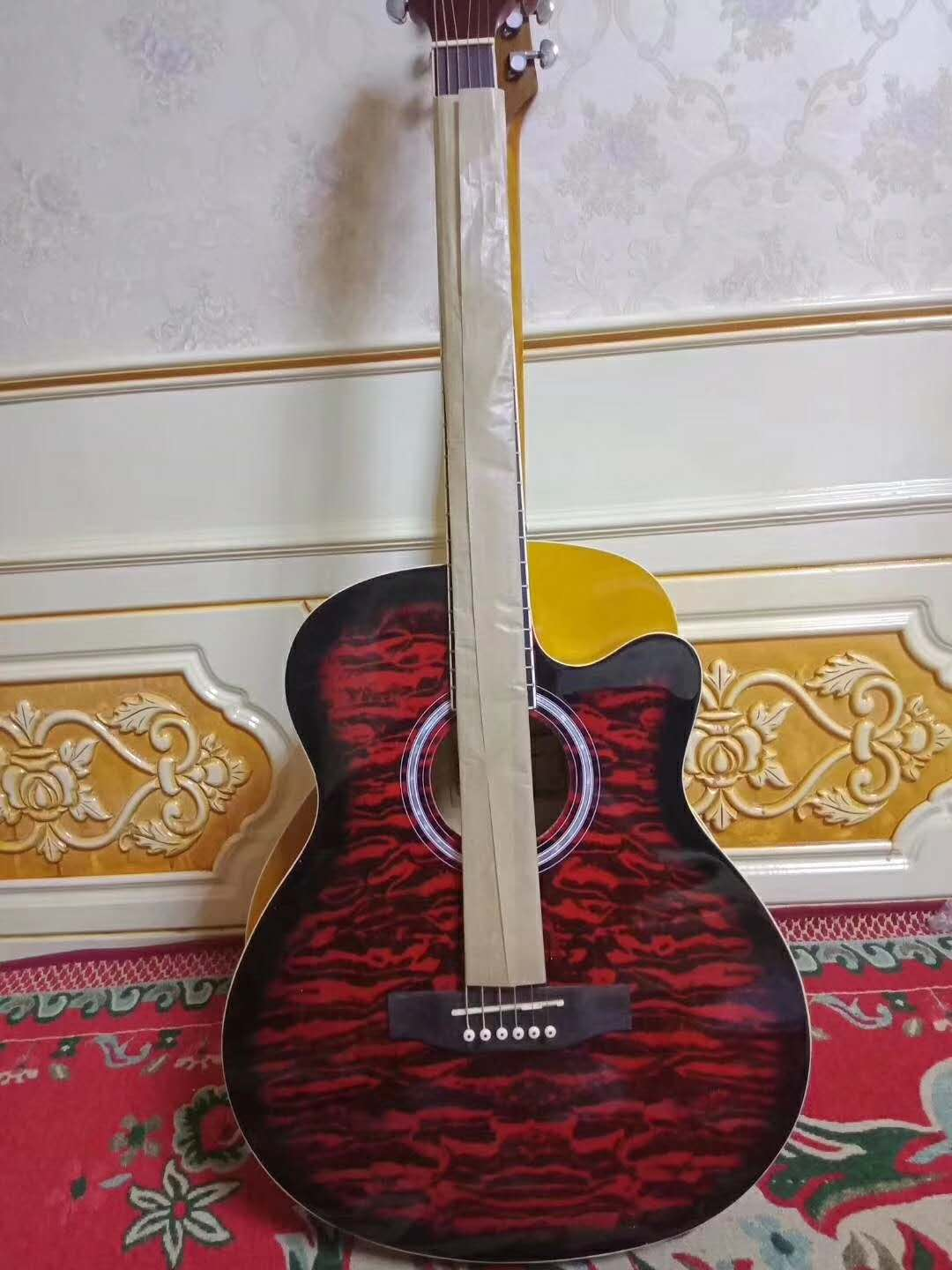 China manufacturer 40inch colorful Tiger stripe design acoustic guitar for beginner