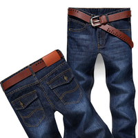 In Stock Wholesale High Quality Business Casual Long Pants Men 's Straight Jeans Blue Jeans For Man